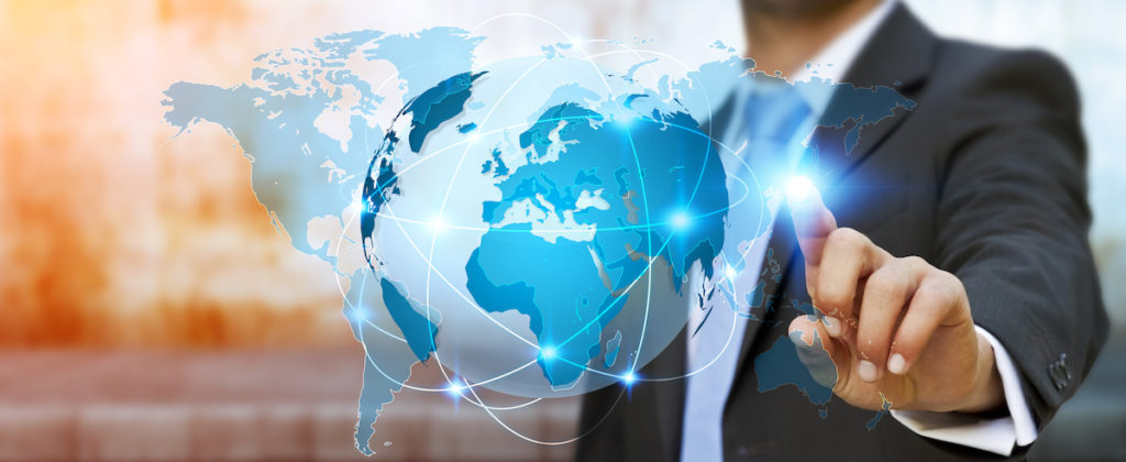 Businessman touching global network on planet earth 3D rendering